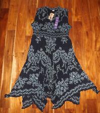 Womens Bila Navy Blue Printed Maxi Dress Sz XL