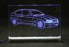 BMW E36 Compact 3er als  AutoGravur auf LED-Leuchtschild zu Feier schenken Fest