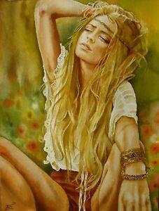 """""""Hippie"""" -  Aquarell Original"""