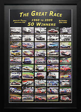 BATHURST 1000 50 WINS MEMORABILIA HOLDEN FORD PETER BROCK FRAMED POSTER