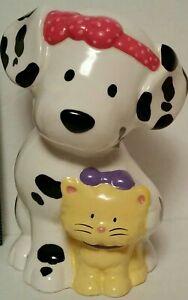 Vintage SANRIO Spottie Dottie Dalmatian DOG w kitten Ceramic COIN Piggy Bank
