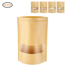 Stand Up Kraft Paper Zip lock Bags Resealable Food Packaging Pouch Clear Window