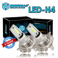 2× H4 9003 HS1 55W LED COB 6000K White Motorcycle Hi/Lo Beam Headlight Bulb 12V