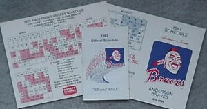 ANDERSON (SC) MINOR LEAGUE BASEBALL SCHEDULES (3) 1975 RANGERS,1982,84 BRAVES