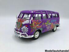 Volkswagen VW t1 samba bus-púrpura/decoración-hippie - 1:24/25 maisto