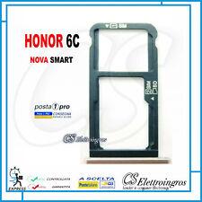 CARRELLO PORTA SIM + MICRO SD PER HUAWEI NOVA SMART HONOR 6C SLOT silver