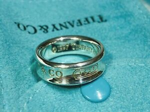 Tiffany & Co Sterling Silver 1837 Concave Thick Band Ring US Size 6.5