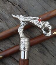 Nautical Victorian Designer Vintage Dragon Handle With Wooden Walking Stick Cane