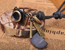N215 Black COOL Camera Pendant Leather Cord Long Necklace Men's NEW