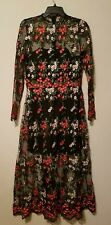 Anthropologie Vone Embroidered Lace Floral Dress Red Multi Sz 4
