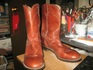 Justin 3512 Men's 10 D Chestnut Leather Pull On Ropers Western Cowboy Boots
