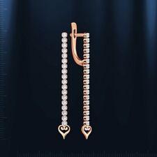 Russian Solid Rose Gold 585 /14ct London Blue Topaz Earrings