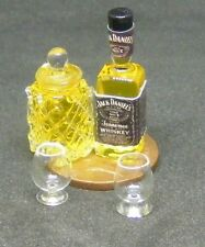 1:12 Scale Glass Decanter With 2 Glasses & Bottle Of Whiskey Tumdee Dolls House