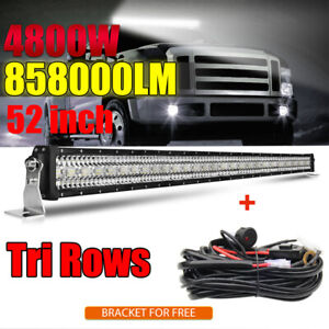 52inch Led Light Bar 4800W Combo Work Driving For Off-road SUV 4WD Boat +Wiring