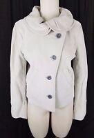 NWT $328 Generra Ruffled Round Collar Assymetrical Jacket Womens L Oyster