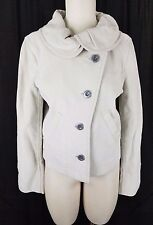 NWT $328 Generra Ruffled Round Collar Assymetrical Jacket Womens L Oyster