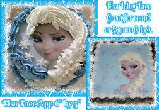 DISNEY Principessa congelati Elsa BRAID faccia commestibile glassa CAKE TOPPER rotonda o quadrata