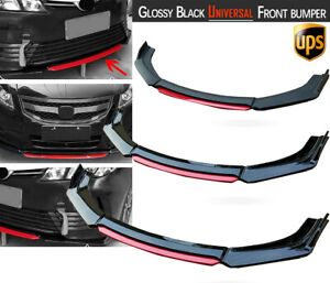Glossy Black Universal Front Bumper Lip Spoiler Splitter Protector Kit Red Layer
