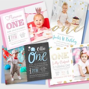 Personalised 1st Birthday Invitations First Party Invites Photo Boy Girl
