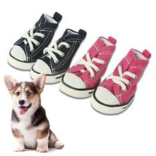 4Pcs Soft Pet Dog Shoes Anti-Slip Canvas Paw Protectors For Teddy Dog Cat Socks