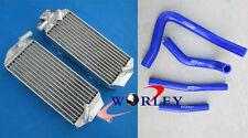 BLUE HOSE + Aluminum radiator FOR Suzuki RM 250 RM250 2-stroke 1996 1997 1998