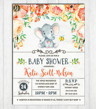 Elephant Baby Shower Invitation Floral Invite UNISEX Little Peanut Birthday