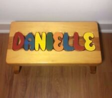 "Personalized ""DANIELLE"" Solid Wood Kid Puzzle Stepping/Sitting Stool"