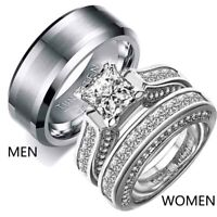 Couple Rings White Gold Filled Tungsten Mens Band Princess cut CZ Womens Rings