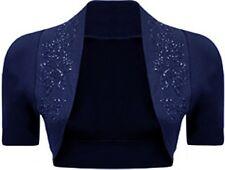 New ladies Long Sleeve Plus Size Cropped Sequin Detail Bolero Shrugs 8-26