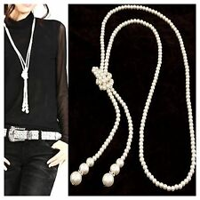 TS Faux White Pearl Long Knotted Adjustable Silver Accent Sweater Necklace
