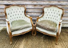 LOVELY ANTIQUE 19th CENTURY PAIR OF FRENCH UPHOLSTERED ARMCHAIRS, C1900