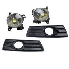 Front Bumper LED Fog Light + Foglamp Grille Panel Kit For VW CC Passat cc 09-12