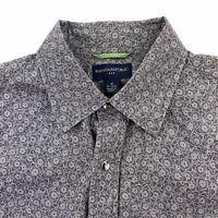 Banana Republic Mens Western Pearl Snap Shirt Med 15 15.5 Gray Cotton Floral