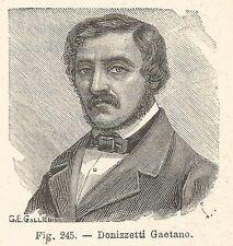B1821 Gaetano Donizzetti - Incisione antica del 1925 - Engraving