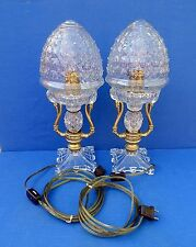 Unique Vintage Pair of Swans and Glass Dome Lamps
