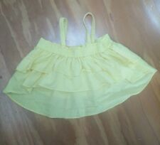 COUNTRY ROAD girls crop top size 4 yellow high low linen cotton