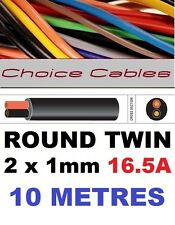ROUND TWIN AUTO CABLE 2 CORE 1.0mm 16.5 AMP CAR BOAT LOOM WIRE, MARINE CABLE 10m