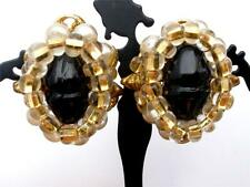Vintage Black Glass Rhinestone Earrings With Pearl Beads Clip On Signed Robert