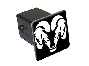 """Ram Head White On Black - 2"""" Tow Trailer Hitch Cover Plug Insert"""