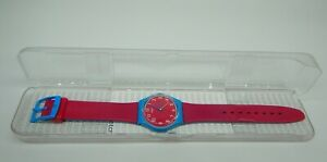 Swatch Watch Pink Blue Rubber Strap With Case Working Condition *Broken Buckle*