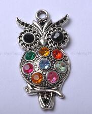 2pcs Tibetan Silver  Crystal Owl Charm 48MM SH135