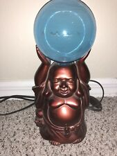 BRONZE BUDDHA ELECTRIC DESK TABLE LAMP w/ BLUE GLOBE EXCELLENT CONDITION!!!