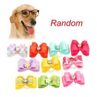 10Pcs/lot Pet Dog Cat Flower Hair Bows With Rubber Band Pets Dog Grooming Supply