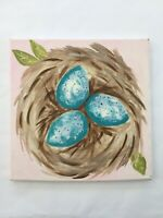 Birds Nest Farmhouse  Pink Blue Eggs Signed Art Acrylic Canvas Painting 12x12