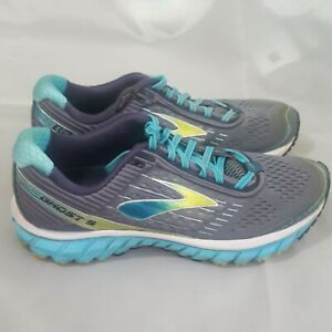 Brooks Womens Ghost 9 Gray Blue Running Shoes Lace Up Size 9.5 M 1202251B151