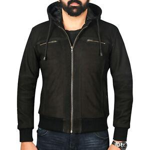 Mens Black Leather Bomber Jacket Fashion Hooded Hoodie Jacket Genuine Leather