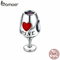 Bamoer European S925 Sterling Silver charm Enamel & CZ Wine glass For Bracelets
