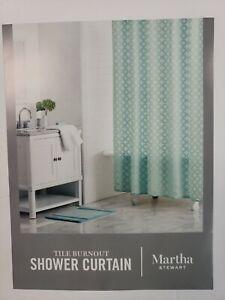 Martha Stewart Collection Burnout Geo-Print Shower curtain Sea Spray 72X72