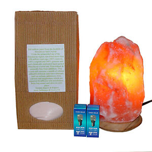 Salt Lamp Himalayan Genuine Pure & Prime Quality 2 Bulbs 1kg Edible Salt 1.5-2kg