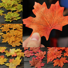 120PCS Artificial Fall Silk Leaves Charm Wedding Favor Autumn Maple Leaf Decor